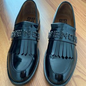 Givenchy Jeweled Patent Leather Loafers in black.